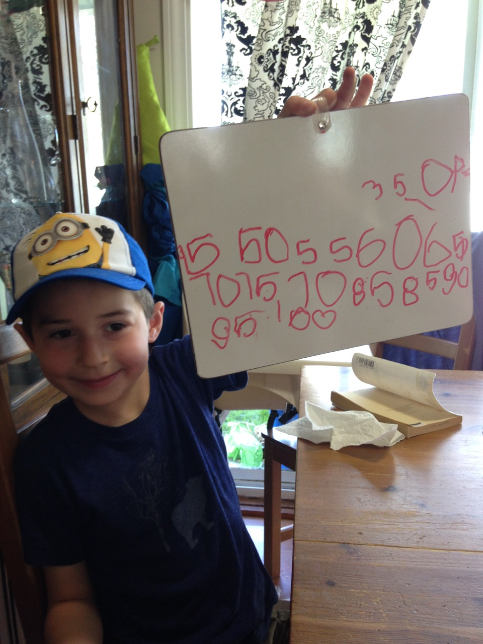Ben counting by fives.