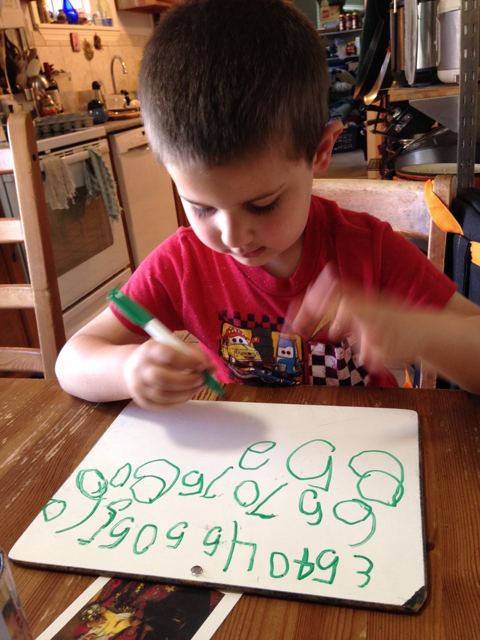 Anthony counting by fives.
