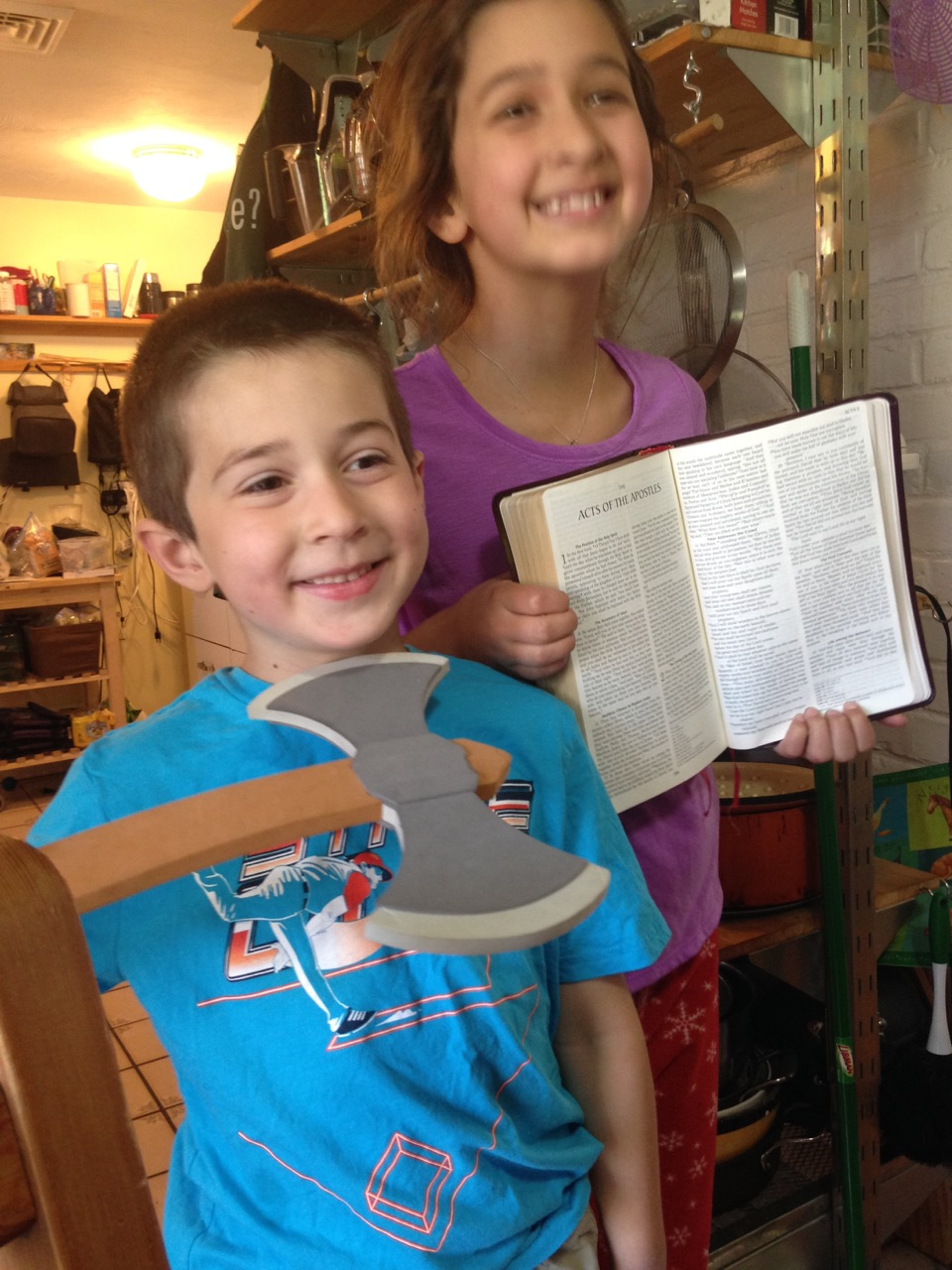 Ben with the Ax and Bella with the Acts of the Apostles