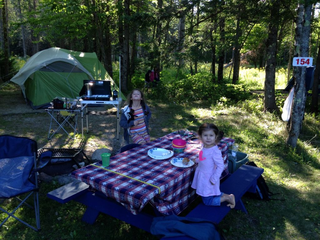 At the campsite.
