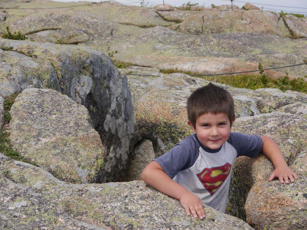 Anthony finds a niche on Cadillac Mountain.
