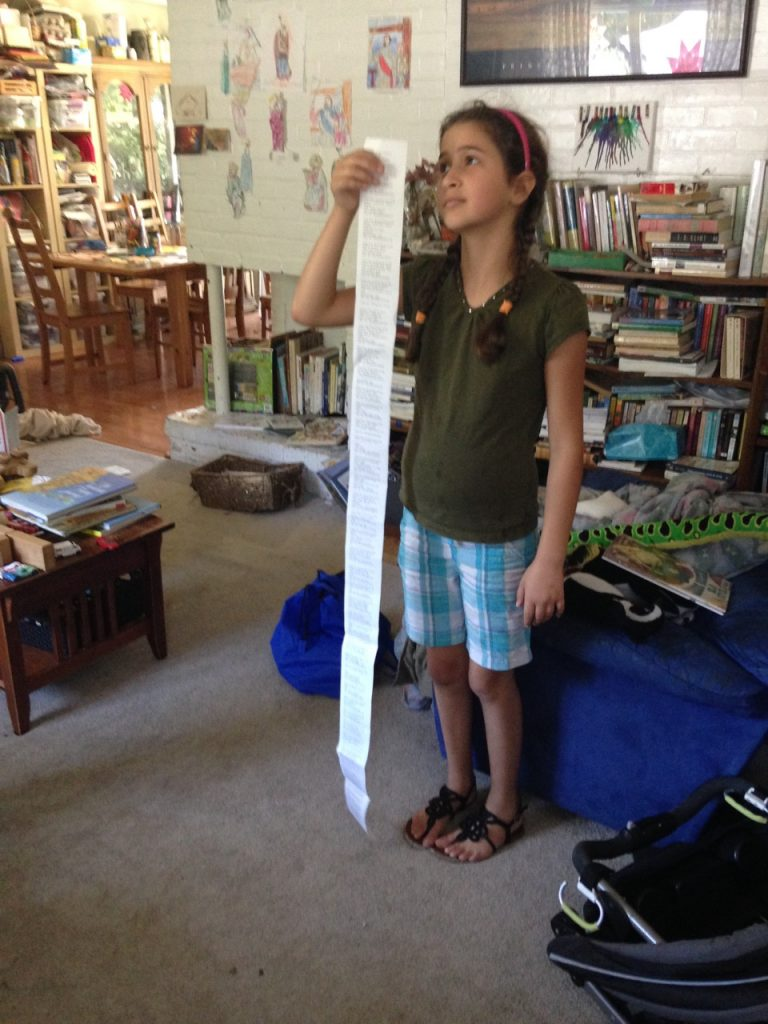 Our library book receipt. I said we got a mountain.