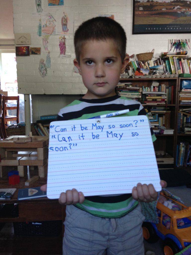 Anthony with copywork.