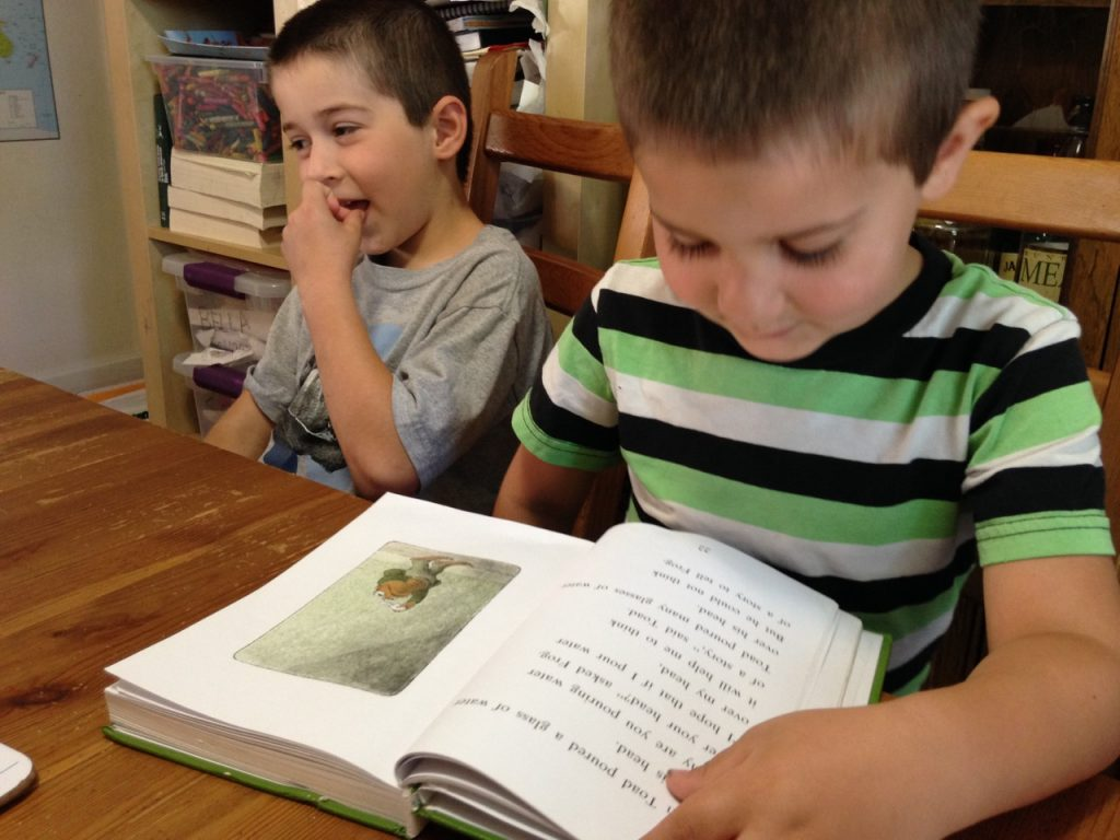 Anthony reads Frog and Toad.