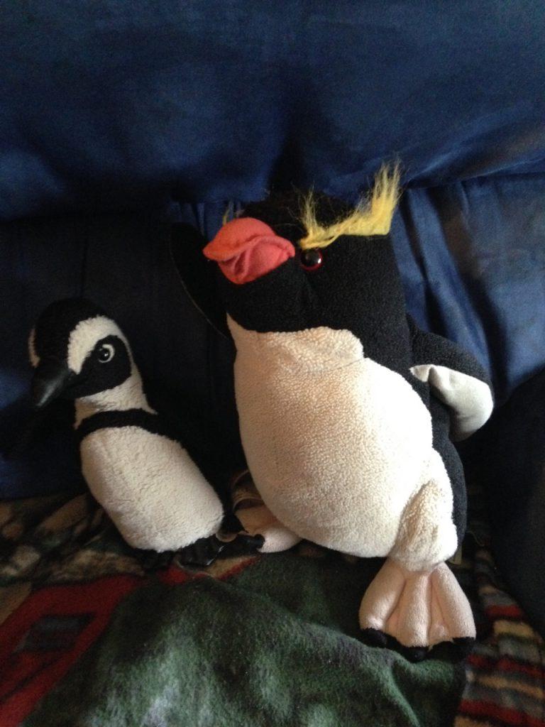 Waddle and Slidey, paleontologist penguins.