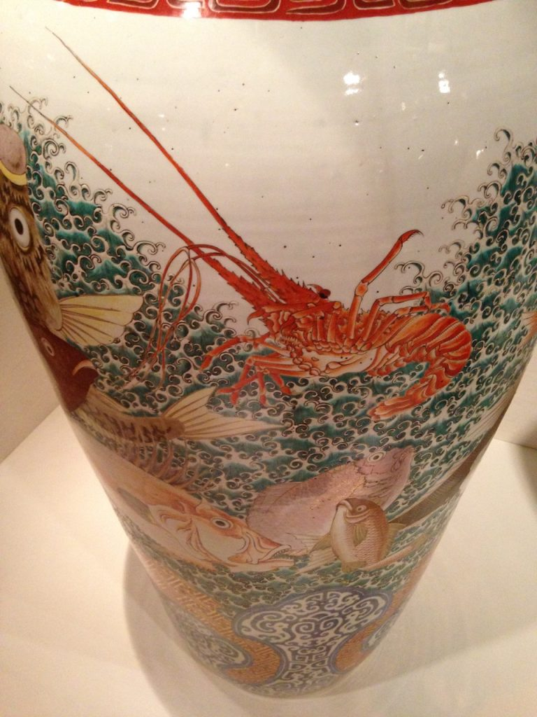 Chinese vase with lobster.