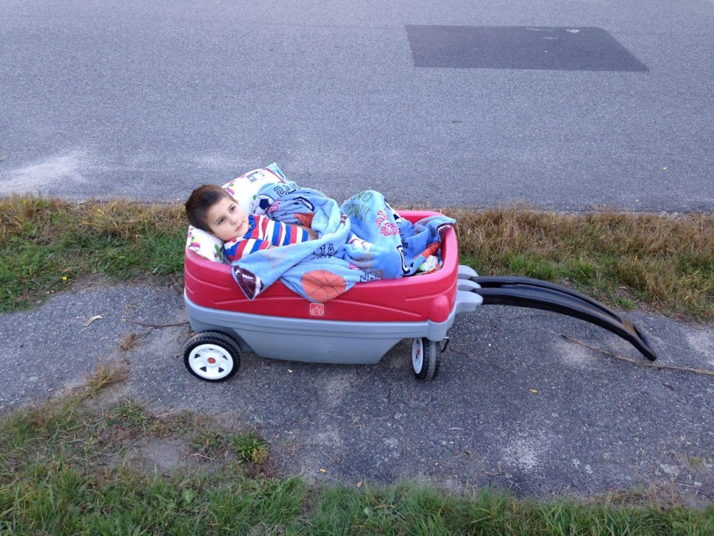 Invalid Anthony, Bella put him in the wagon and pulled him about so he wouldn't be left out.