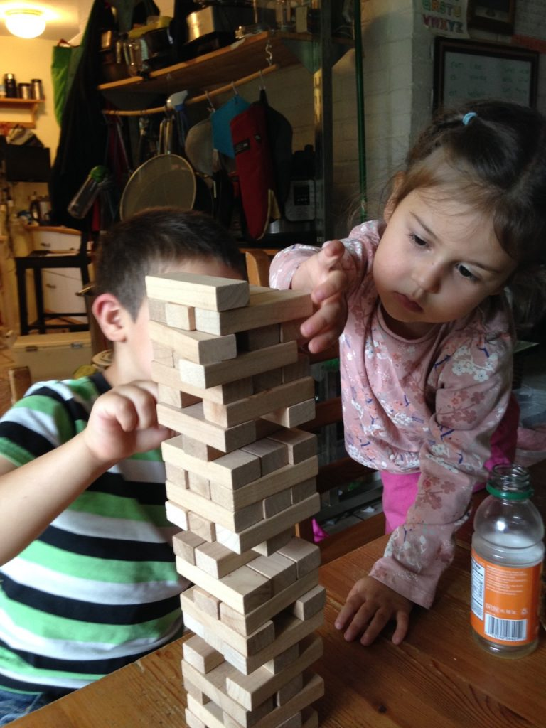 Lucy is a jenga master.