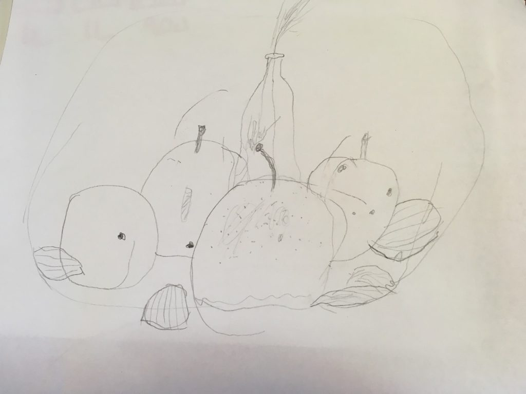 Bella's still life with pears and scallop shells.