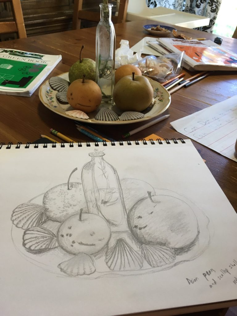 My still life with pears and scallop shells.