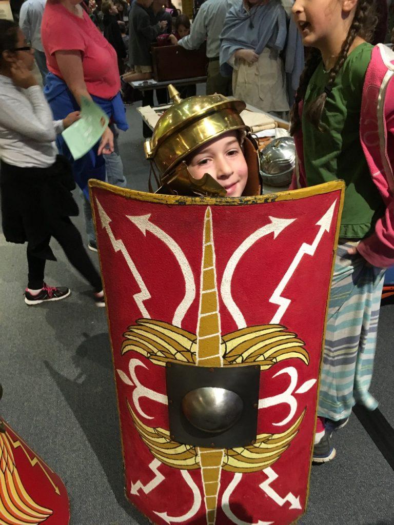 Roman helmet and shield.