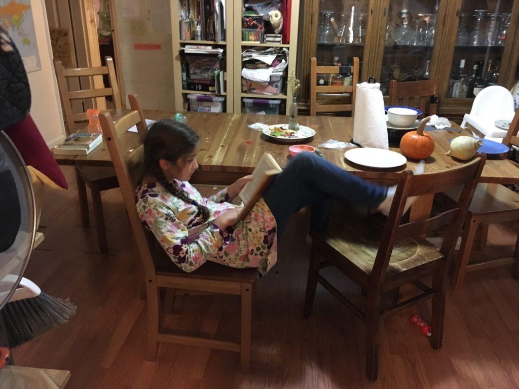 Bella reading.