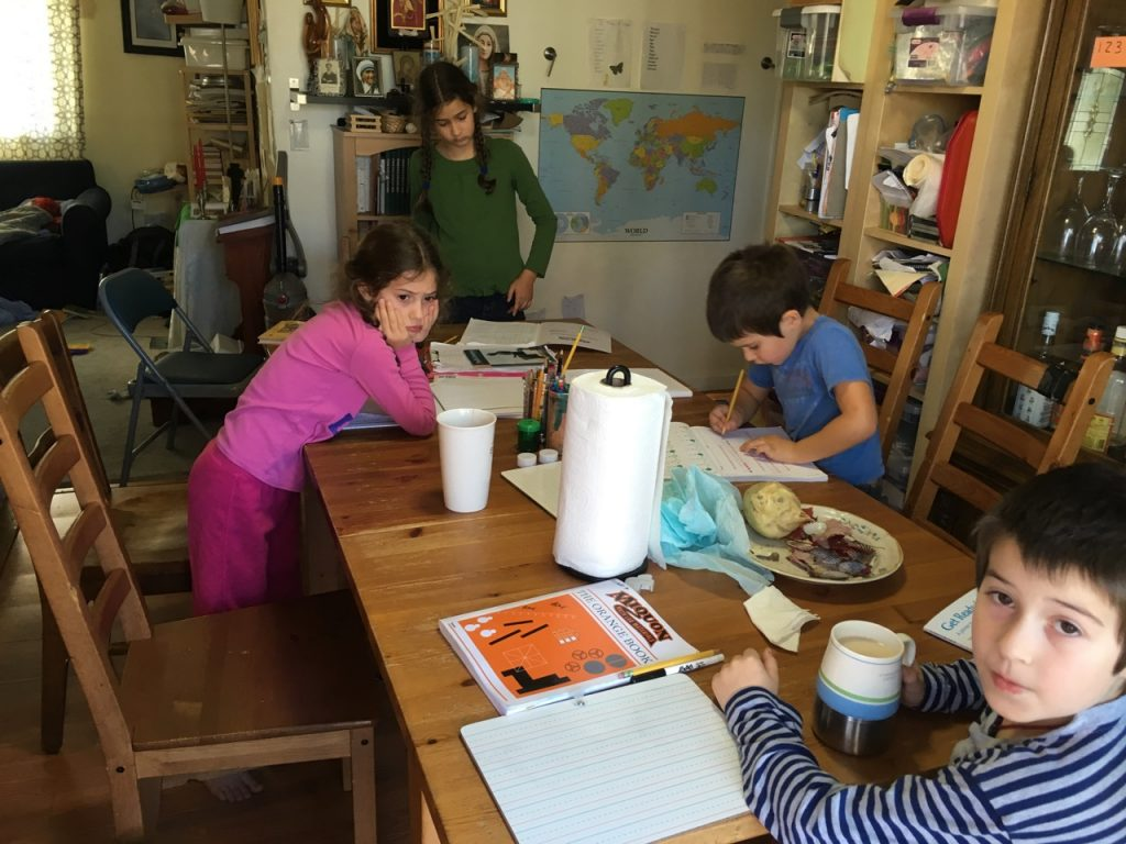 Children working.